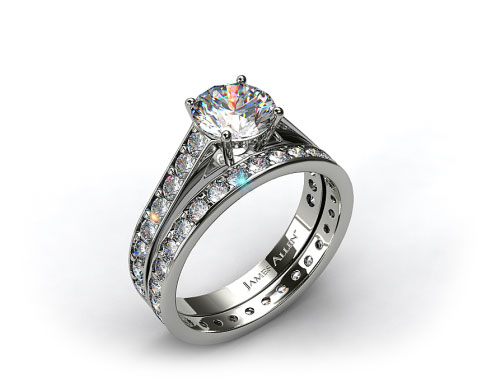 Platinum 0.35ct Pave Cathedral Engagement Ring &amp; 0.61ct Pave Eternity Ring